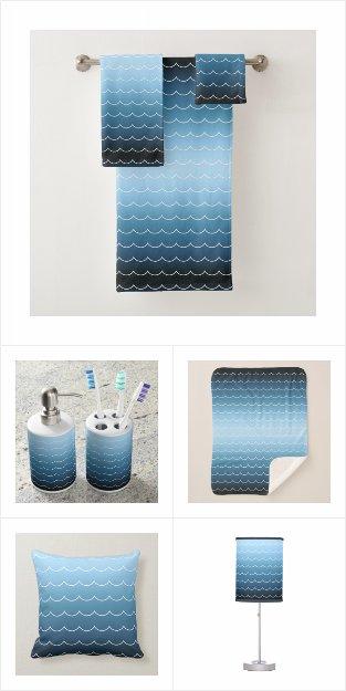 Modern Blue Wave Pattern Home Decor
