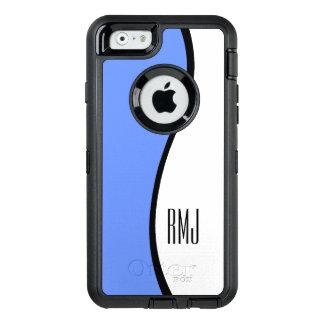 Modern Blue Wave Personalized Monogram OtterBox Defender iPhone Case