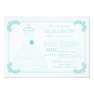 Modern Blue Wedding Dress Bridal Shower Personalized Invitations