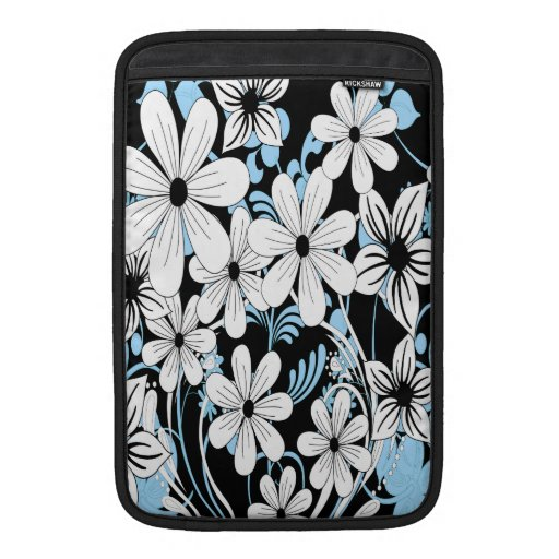 Modern blue white and black floral pattern MacBook air sleeves