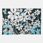 Modern blue white and black floral pattern kitchen towel