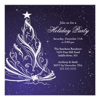 Modern Blue & White Christmas Holiday Party Announcements