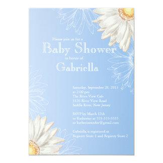Modern Blue & White Gerbera Daisy Baby Shower Card