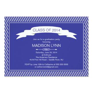 Modern Blue White Graduation Party Invitation