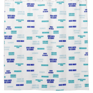 Modern Blue White Love Life Embossed Labels Patter Shower Curtain