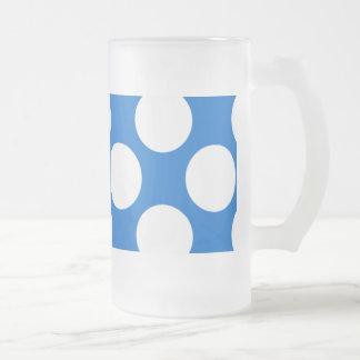 Modern Blue White Polka Dots Pattern Frosted Glass Beer Mug