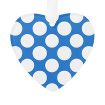 Modern Blue White Polka Dots Pattern Ornament
