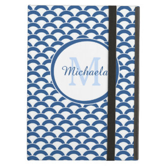 Modern Blue White Scallops With Monogram and Name Cover For iPad Air
