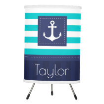 Modern Blue White Stripes Nautical Anchor Custom Tripod Lamp