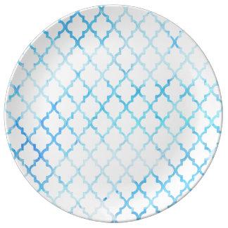 Modern blue white watercolor quatrefoil pattern porcelain plates