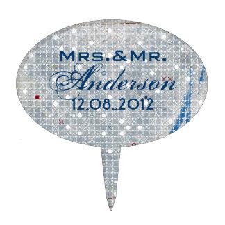 Modern Blue white wedding Umbrella Bridal Shower Cake Pick