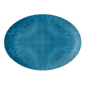Modern Blue wood Pattern Porcelain Serving Platter