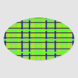 Modern blue yellow and green plaid oval stickers
