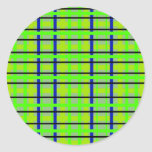 Modern blue yellow and green plaid sticker