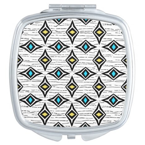 Modern blue yellow boho tribal aztec design compact mirror