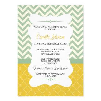Modern Blue & Yellow Elegant Chevron Bridal Shower Custom Announcement