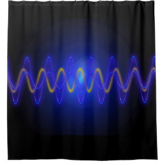 Modern Blue Yellow Light Wave On Black Shower Curtain
