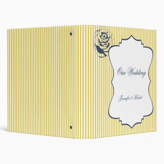 Modern Blue Yellow Stripe Wedding Binder