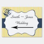 Modern Blue Yellow Stripe Wedding Direction Sign