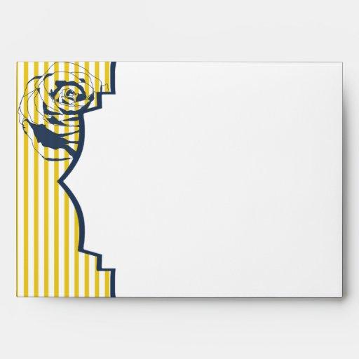 Modern Blue Yellow Stripe Wedding Envelope