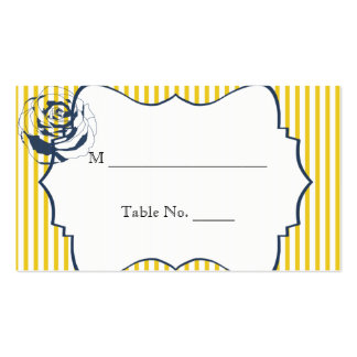 Modern Blue Yellow Stripe Wedding Place Cards Double-Sided Standard Business Cards (Pack Of 100)