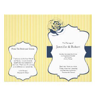 Modern Blue Yellow Stripe Wedding Program