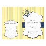 "Modern Blue Yellow Stripe Wedding Program 8.5"" X 11"" Flyer"