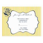 Modern Blue Yellow Stripe Wedding RSVP Post Card