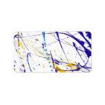 Modern blue yellow watercolor splatters pattern label