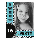Modern Blue Zebra  Sweet 16 Birthday  Party Personalized Announcements