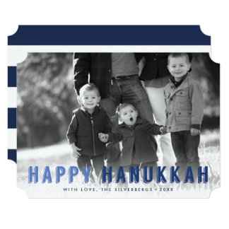 Modern Blues Hanukkah Photo Card