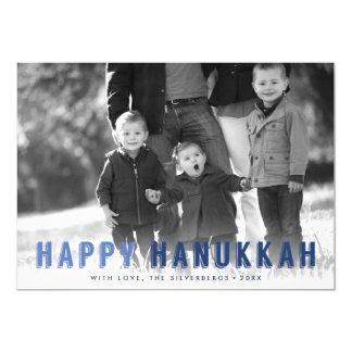 Modern Blues Hanukkah Photo Card