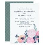 Modern Blush and Navy Floral Wedding | Vertical Card
