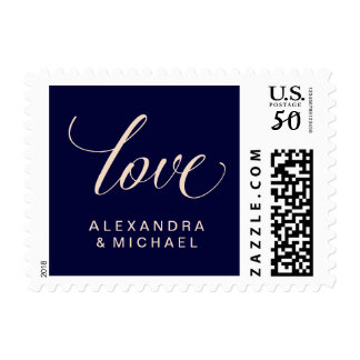 Modern Blush and Navy Typography | Wedding Love Postage