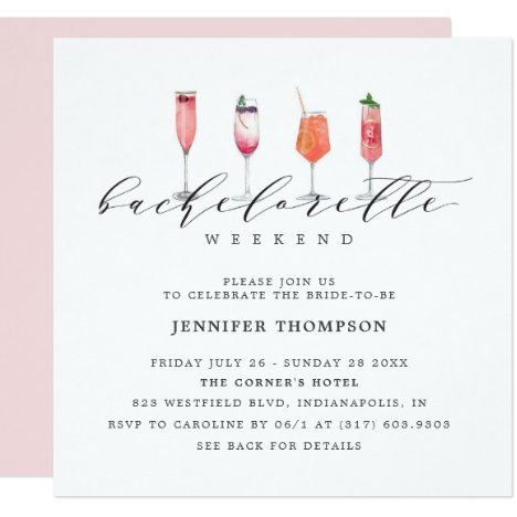 Modern Blush Bachelorette Weekend Invitation