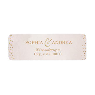 Modern blush faux glitter rose gold return address label