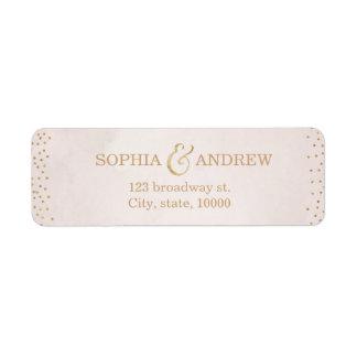 Modern blush faux glitter rose gold return address label