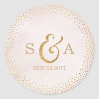 Modern blush glitter rose gold wedding monogram classic round sticker