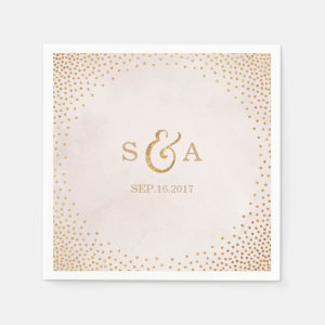Modern blush glitter rose gold wedding monogram paper napkin
