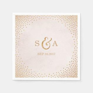 Modern Blush Glitter Rose Gold Wedding Monogram Paper Napkin at Zazzle
