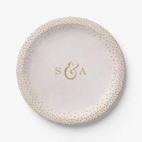 Modern blush glitter rose gold wedding monogram paper plate