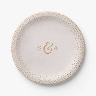 Modern blush glitter rose gold wedding monogram paper plate