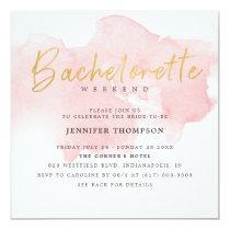 Modern Blush Gold Bachelorette Weekend Invitation