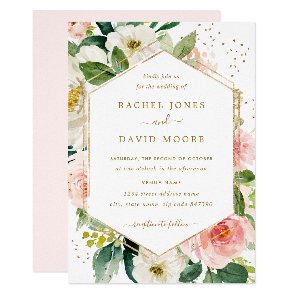 Modern Blush Gold Floral Watercolor Wedding Invite