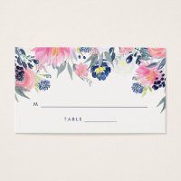 Modern Blush Pink and Navy Floral Wedding Escort Business Card