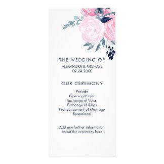 Modern Blush Pink and Navy Floral Wedding Program