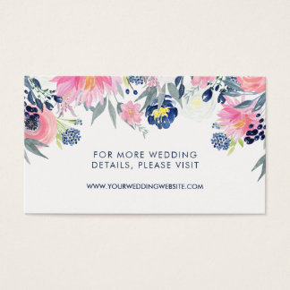 Modern Blush Pink and Navy Floral Wedding Website Business Card