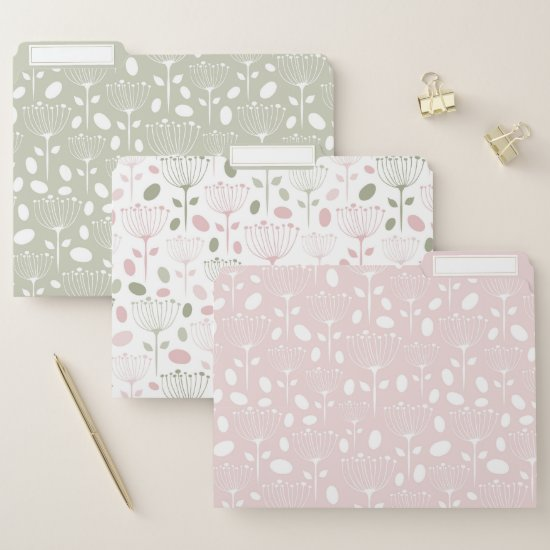 Modern Blush Pink and Sage Green Floral File Folder