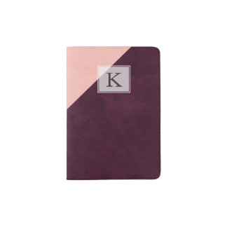 Modern blush pink burgundy watercolor color block passport holder
