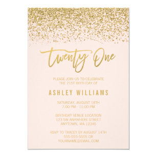 Modern Blush Pink Faux Gold Glitter 21st Birthday Invitation